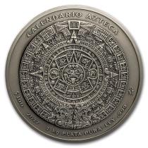 Azteken kalender Zilver 1 kg - Antique finish | Muntzijde | goud999