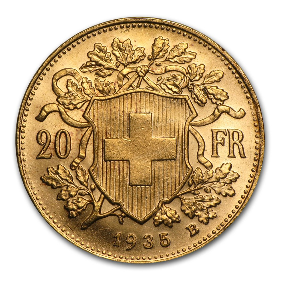 Vrenelis Goud 20 Frank | Muntzijde | goud999