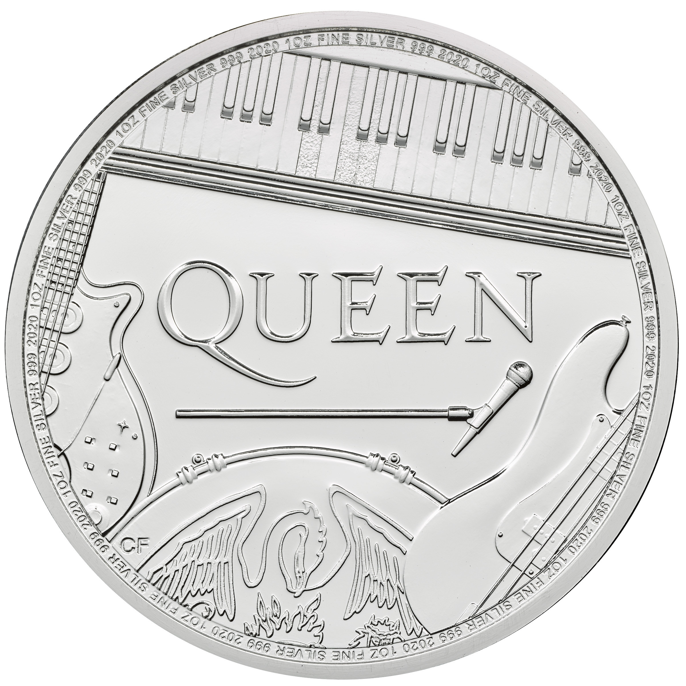 Britse Muziek Legendes Queen Zilver 1 Ounce 2020   Muntzijde   Goud999