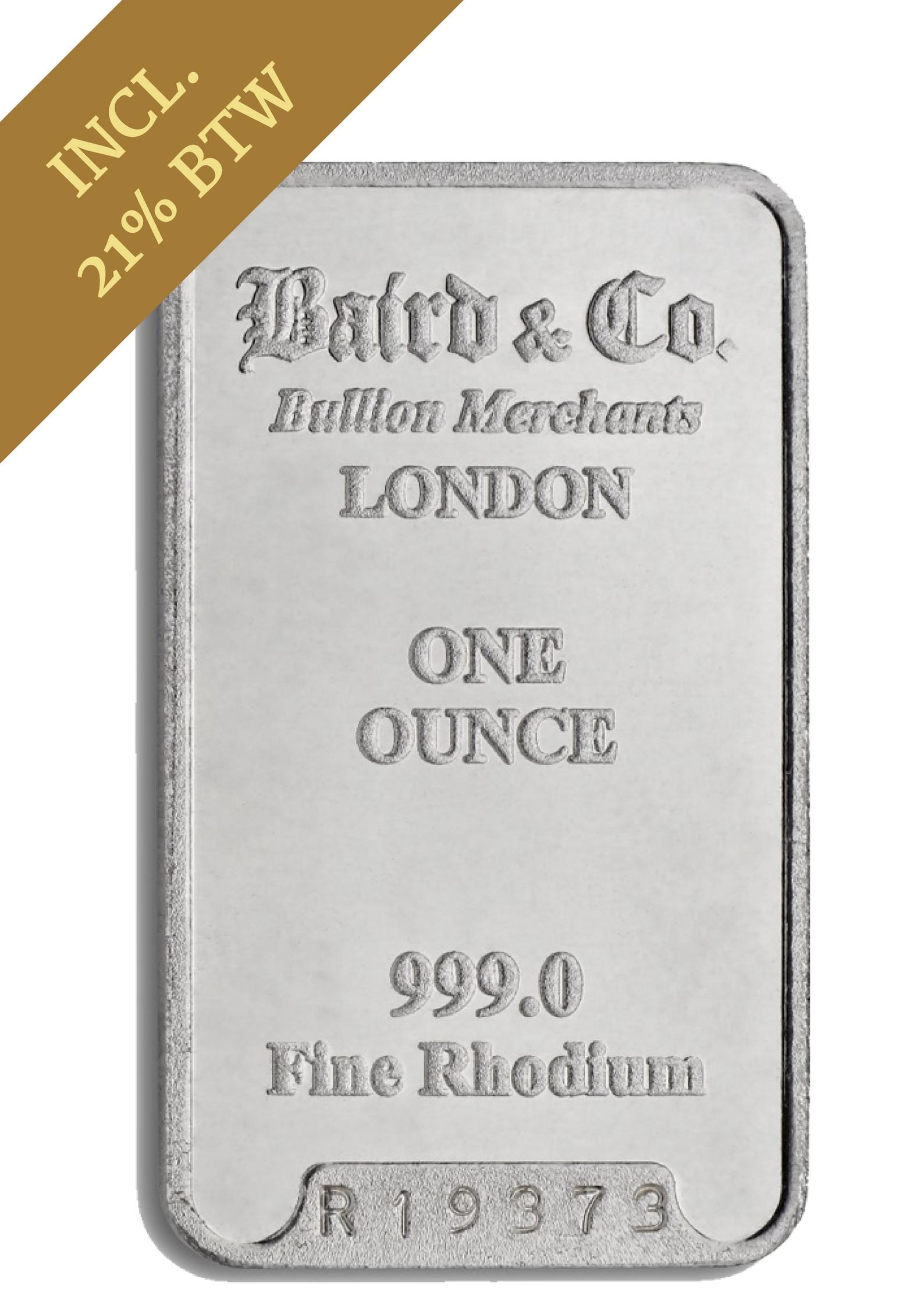 Rhodiumbaar 1 Ounce | Baar | achterkant | goud999