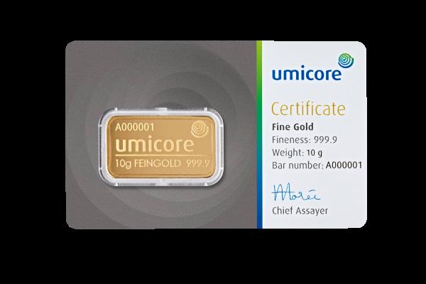 Goudbaar UMICORE 10 Gram 999,9/1000   Baar   goud999