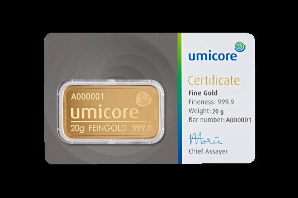 Goudbaar UMICORE 20 gram 999,9/1000 | goud999