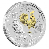 Lunar II Rooster Zilver 1 Ounce Proof Colorized | Muntzijde | goud999