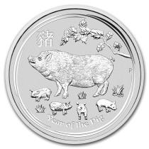 Lunar II Pig 10 kilogram zilver | muntzijde | goud999
