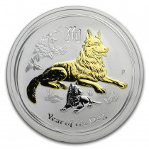 Lunar II Dog Zilver 1 Ounce Proof Verguld | Muntzijde | goud999