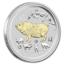 Lunar II Pig Verguld | Goud999 | Muntzijde
