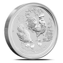 Lunar II Rooster 10 kilogram zilver | muntzijde | goud999