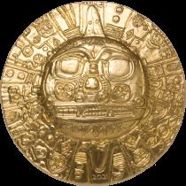 Inca Sun God Zilver 1 Ounce - Verguld   Hoofdzijde   goud999
