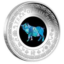 Lunar II Pig Zilver 1 Ounce 2019 PROOF opal | Muntzijde | goud999
