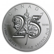 Maple Leaf Zilver 1 Ounce 2013 - 25th Anniversary | Muntzijde | goud999