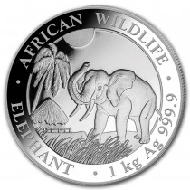 Somalian Elephant Zilver 1 Kilogram 2017| Hoofdzijde | goud999