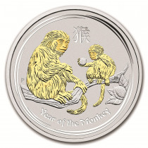 Lunar II Monkey Zilver 1 Ounce Proof Colorized | Muntzijde | goud999
