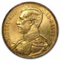 Belgische Albert I 20 Frank   Hoofdzijde   goud999