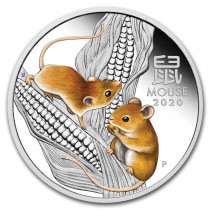 Lunar III Mouse Zilver 1 Ounce 2020 PROOF Colorized | goud999 | Muntzijde
