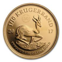 Krugerrand Goud 1/10 Ounce 2017 50th Anniversary PROOF   Muntzijde   goud999