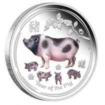 Lunar II Pig Zilver 1 Ounce 2019 PROOF Colorized | Muntzijde | goud999