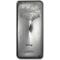 Zilverbaar 10 Kilogram | Umicore | Zijkant | goud999