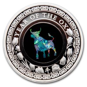 Lunar III Ox Zilver 1 Ounce 2021 PROOF opal   Voorkant   goud999