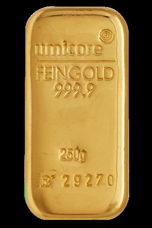 Goudbaar LBMA 250 Gram LBMA   Umicore   goud999