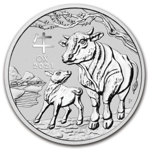 Lunar III Ox Zilver 1 Ounce 2021   Muntzijde   goud999