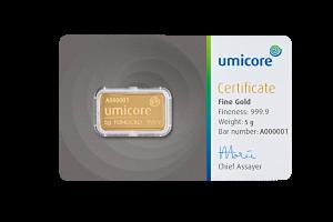 Goudbaar UMICORE 5 Gram 999,9/1000 | Baar | goud999