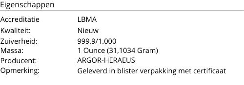 Goudbaar ARGOR-HERAEUS 1 Ounce 999,9/1000