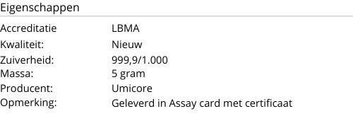 Goudbaar UMICORE 5 Gram 999,9/1000