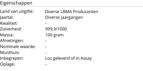 Goudbaar LBMA 100 gram
