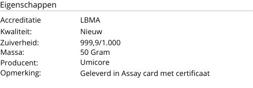 Goudbaar UMICORE 50 Gram 999,9/1000