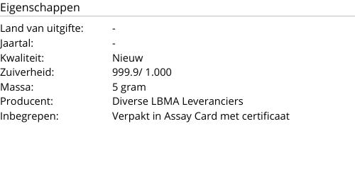 Goudbaar 5 Gram LBMA