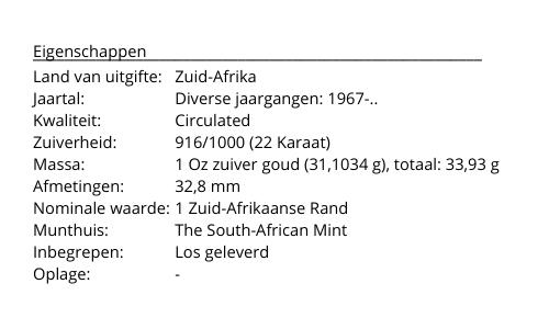 Krugerrand Goud 1 Ounce Diverse Jaargangen