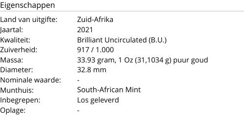 Krugerrand Goud 1 Ounce 2021
