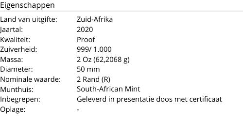 Krugerrand Zilver 2020 PROOF 2 Ounce